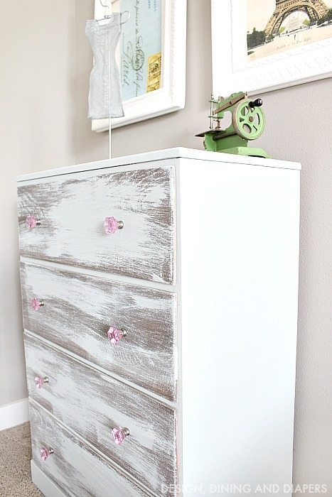 Mint and Pink Dresser Makeover