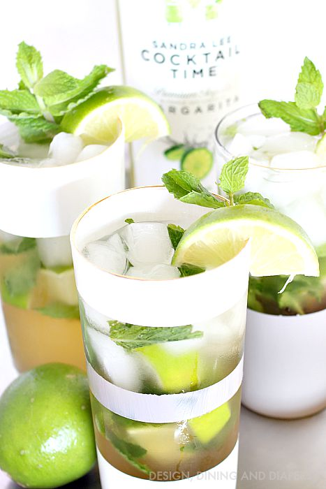 Minty Key Lime Mojitos in DIY Painted Glasses