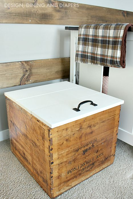 Turn an old shipping crate into a toy box by building a lid with hinges