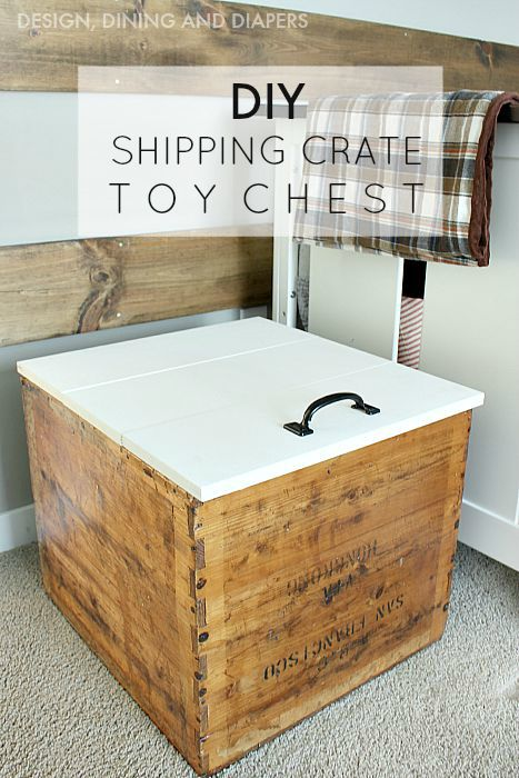 Turn an old shipping crate into a toy box by building a lid with hinges2