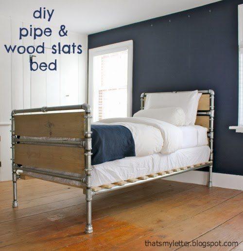 pipe wood slats bed