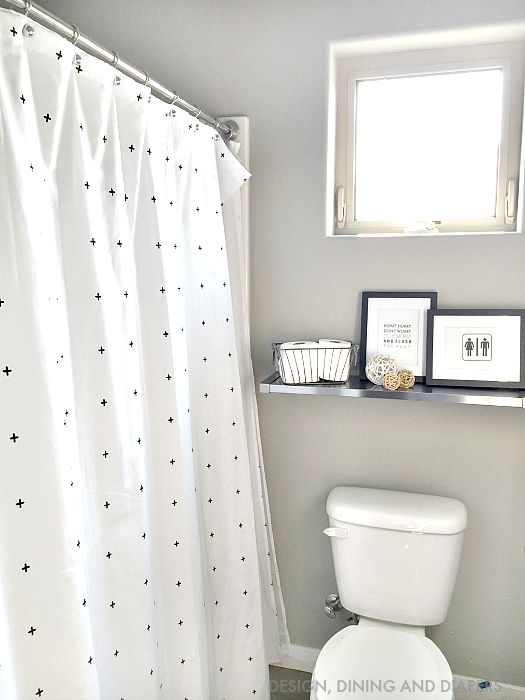 BEFORE bathroom with shower curtain