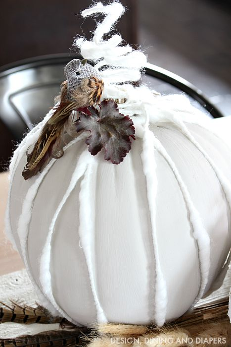 Cozy DIY Pumpkin with gray and white accents