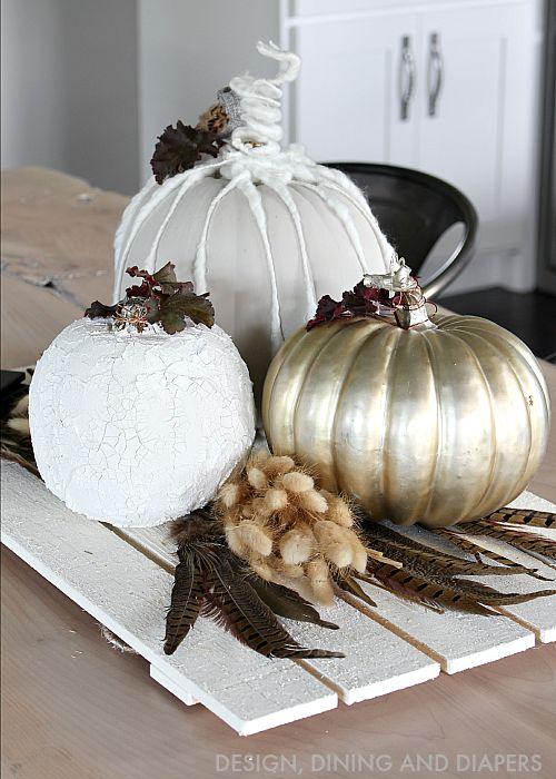 Neutral fall centerpiece with diy pumpkins taryn whiteaker