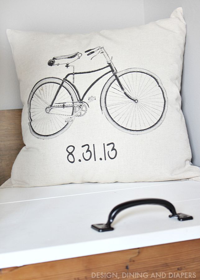 Personalized Bicycle Pillow from Sew Vintage Chic