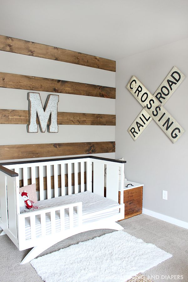 Wood Striped Wall in Rustic Boys Room