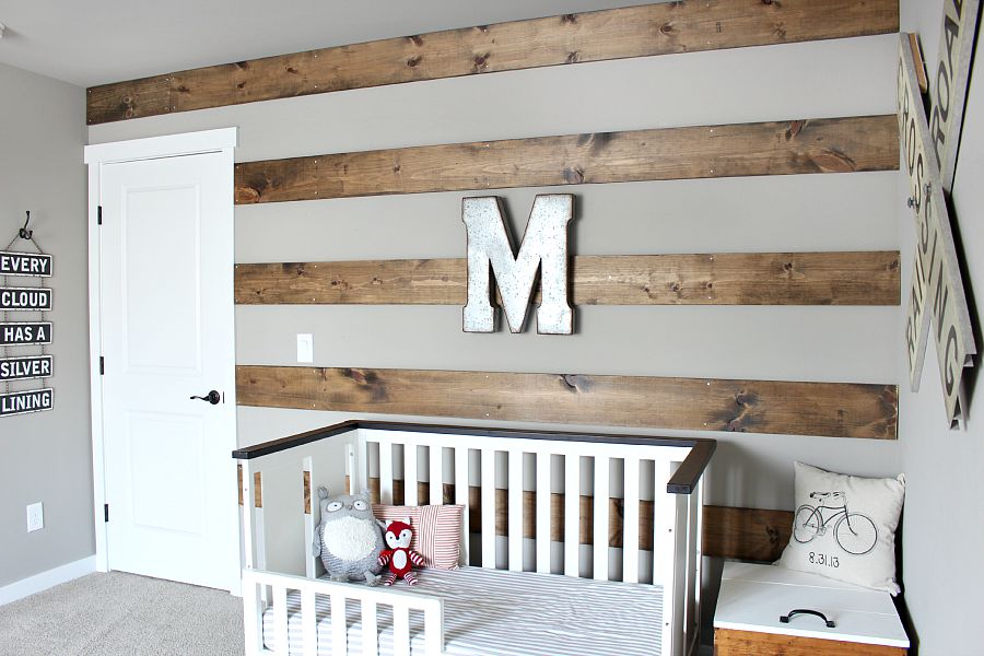 Wood Striped Wall in Toddler Room