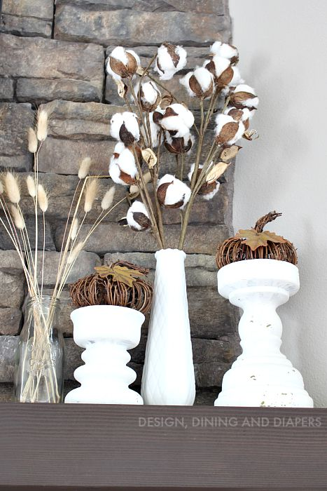 Cotton Branches and Neutral Fall Decor