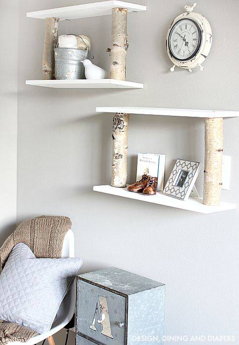 DIY Birch Shelves in Nursery