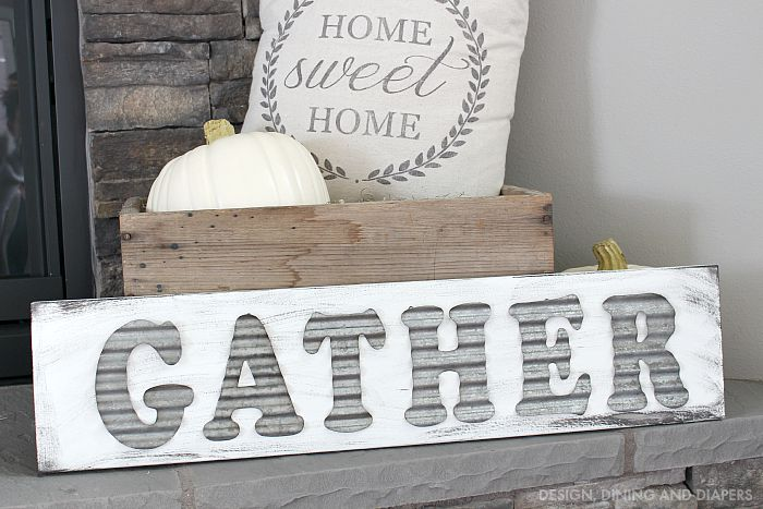 DIY Gather Sign Using Metal Letters on Wood