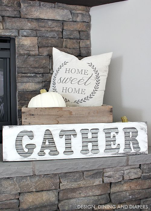 DIY Gather Sign on Fall Mantel