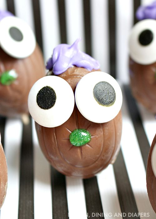 Easy Halloween Treat Ideas! Make these cute chocolate monsters out of cadbury eggs!