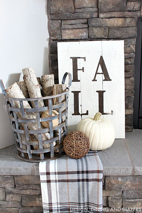 Fall Sign and Rustic Mantel