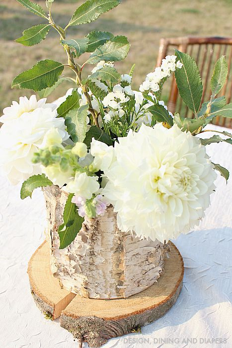 Rustic Party Decor - Birch Vases and Rounds