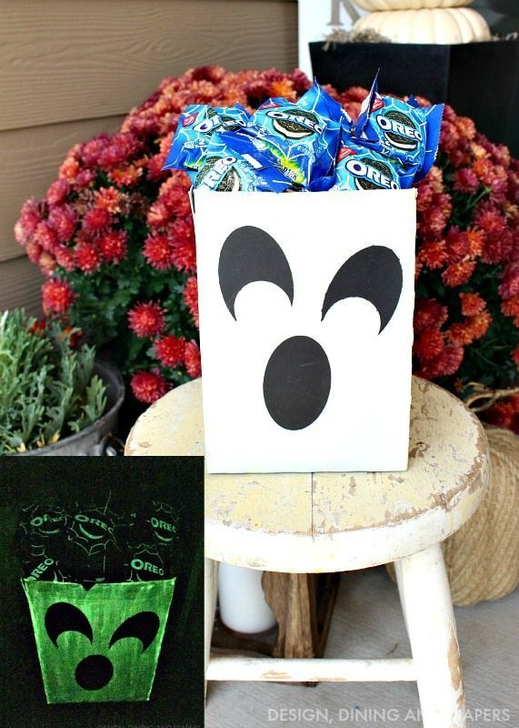 DIY Glow-In-The Dark Ghost Treat Bag with Glow-in-the-dark OREO Packs