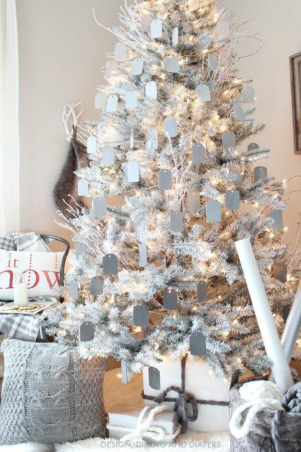 Gray and white christmas tree taryn whiteaker for Designer white christmas tree