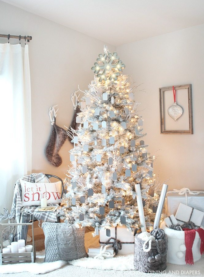 Gray and white christmas tree taryn whiteaker for Modern gold christmas tree