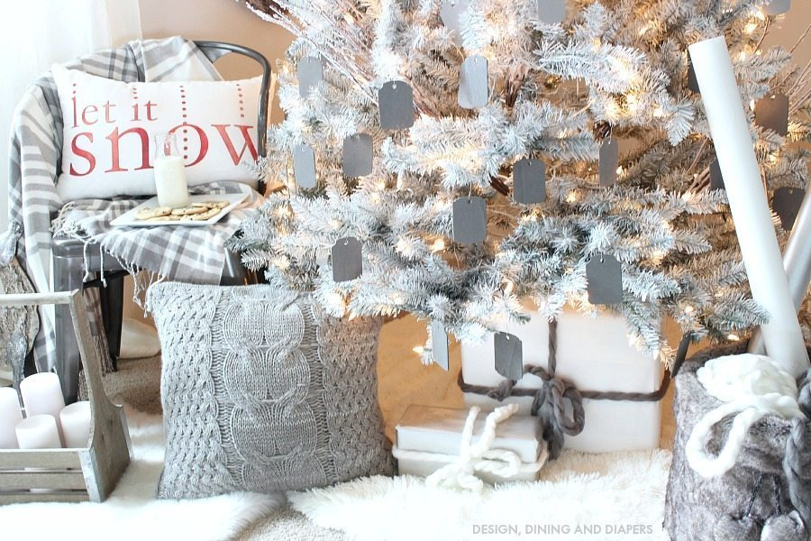Winter White and Gray Christmas Tree