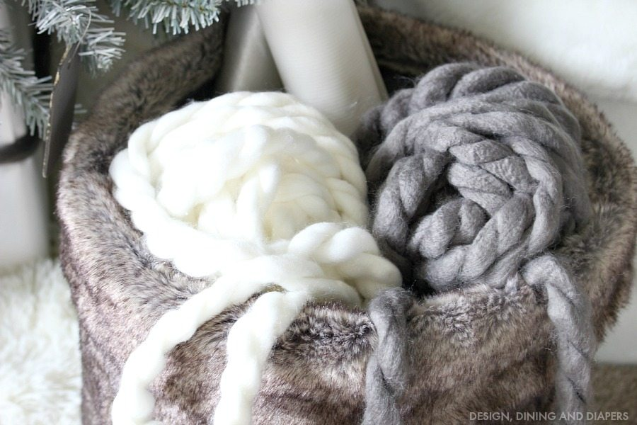 Yarn in fur basket with wrapping