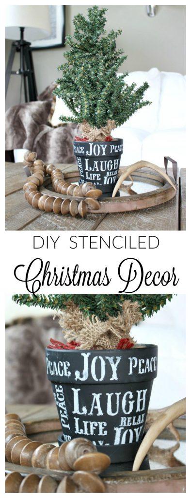 DIY Christmas Decor - Stenciled Tree Pot