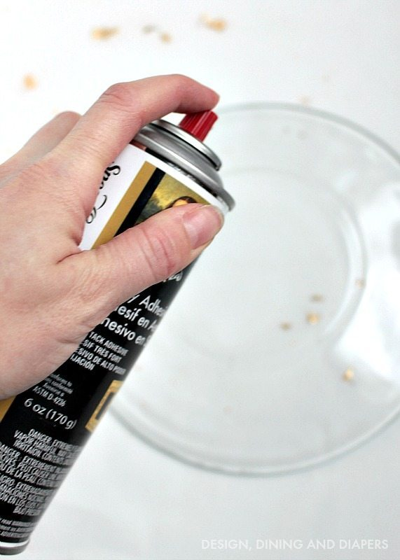 DIY Gold foil plates - spray adhesive
