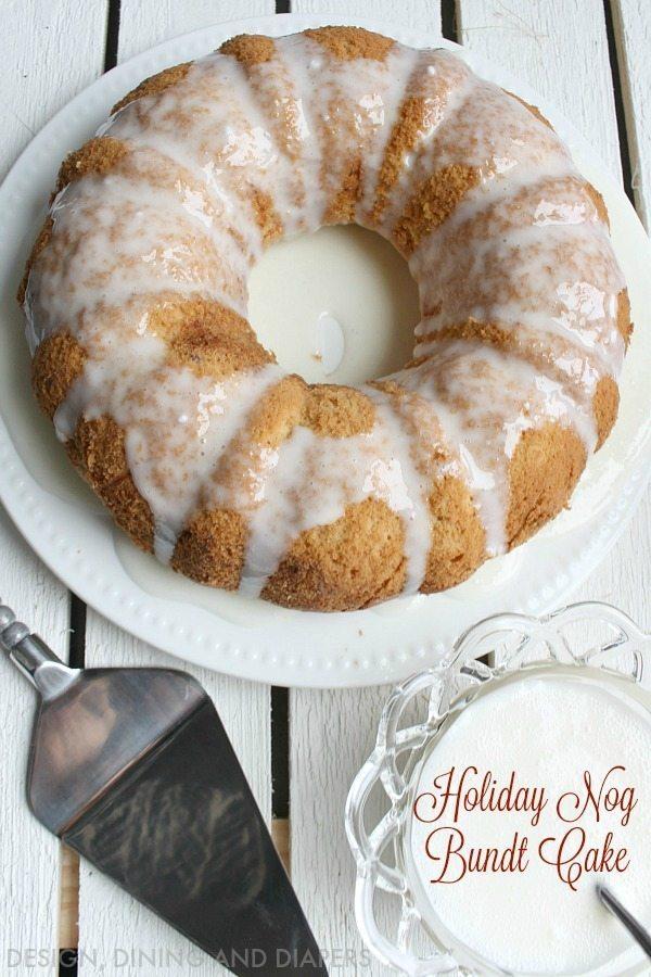 Holiday Nog Bundt Cake with festive icing