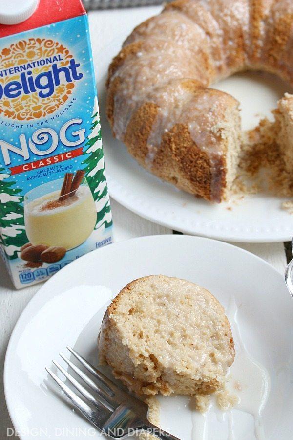 Holiday Nog Bundt Cake with frosting'