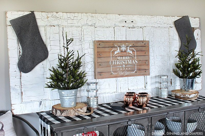 Rustic Christmas Vignette Using Old Door and Buffalo Check