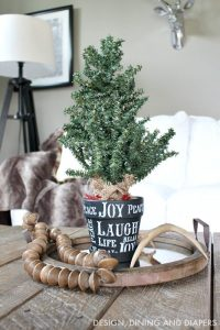 Mini Christmas Tree in Stenciled Chalkboard Pot