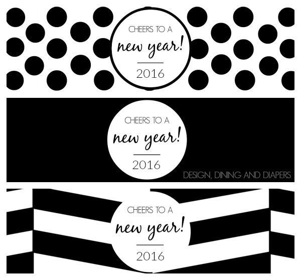 2016 New Year's Printable Bottle Wraps