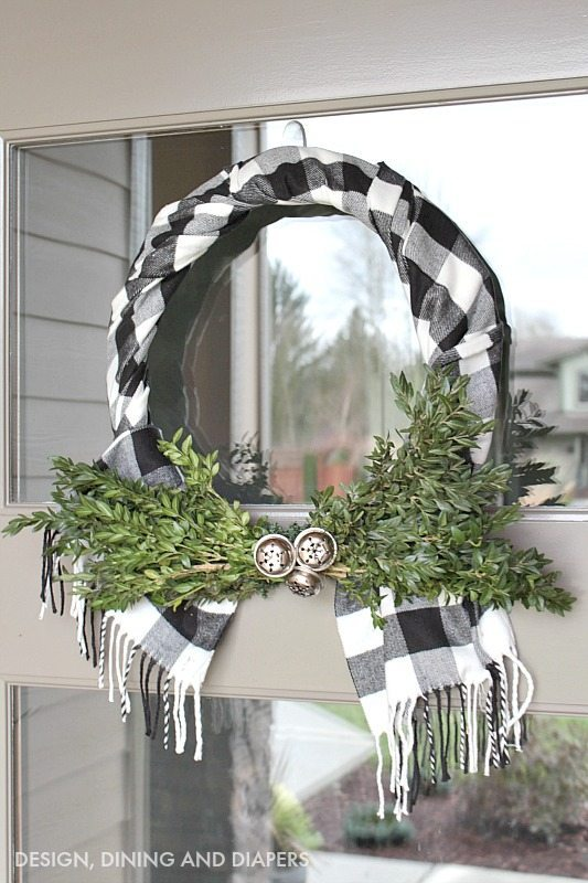 Buffalo Check Wreath using a scarf