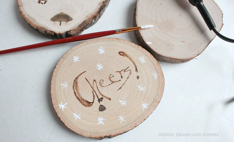 DIY Wood Burned Coasters With Paint