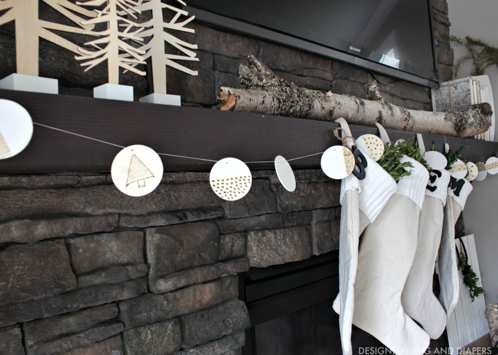 DIY Wood Burned Garland on Mantel
