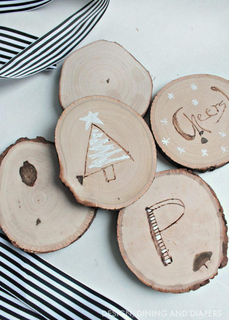 DIY Wood Burned Holiday Coasters