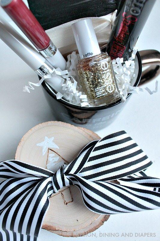 DIy Gift Idea - DIY Wood Burned Coasters with Coffee Mug and Goodies