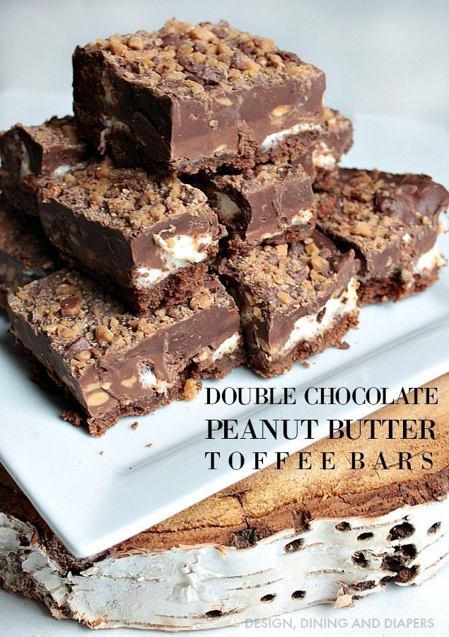 Double Chocolate Peanut Butter Toffee Bars - Design, Dining + Diapers