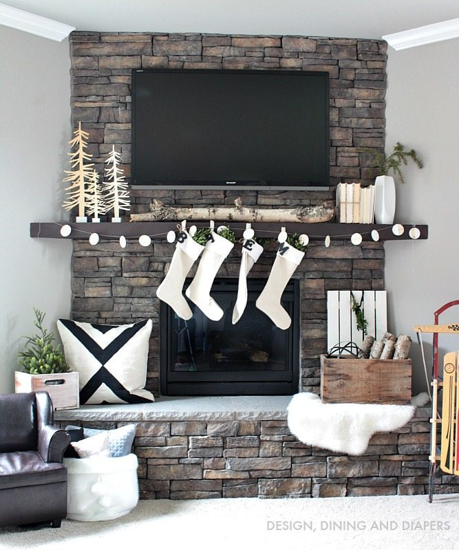 Nordic Christmas Mantel with DIY Wood Garland