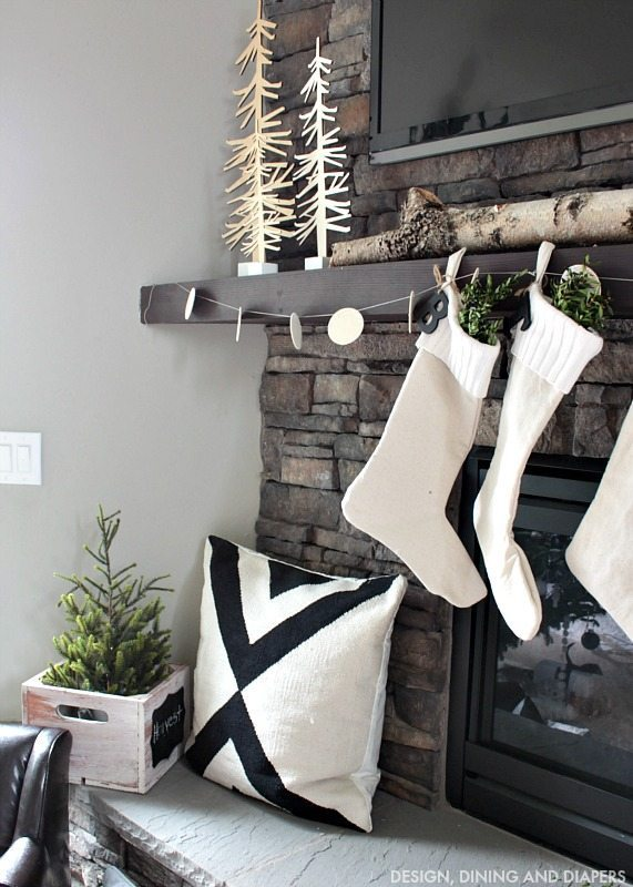 Nordic Christmas Mantel with Wood Trees