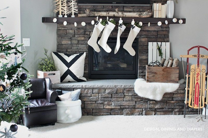 Nordic Christmas Mantel with pops of green