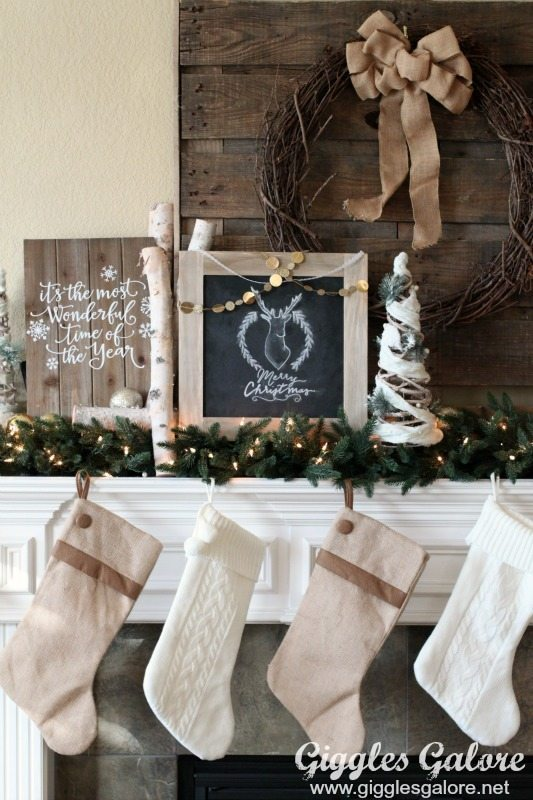 Rustic-Christmas-Mantle-with-Distressed-Wooden-Chalkboard