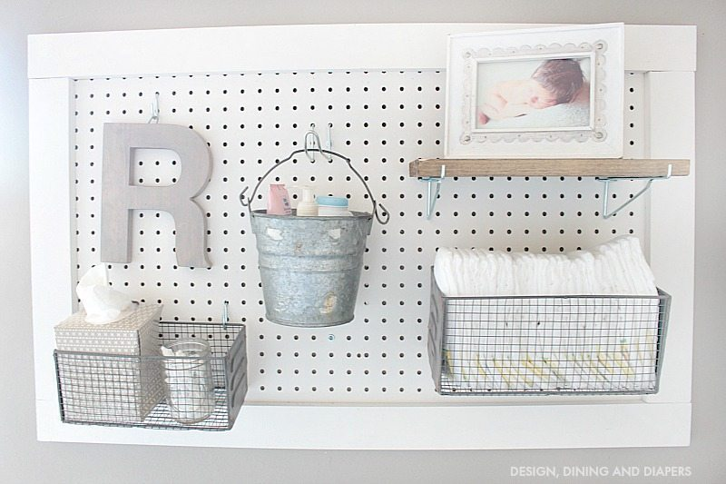 DIY Peg Board Diaper Changing Station