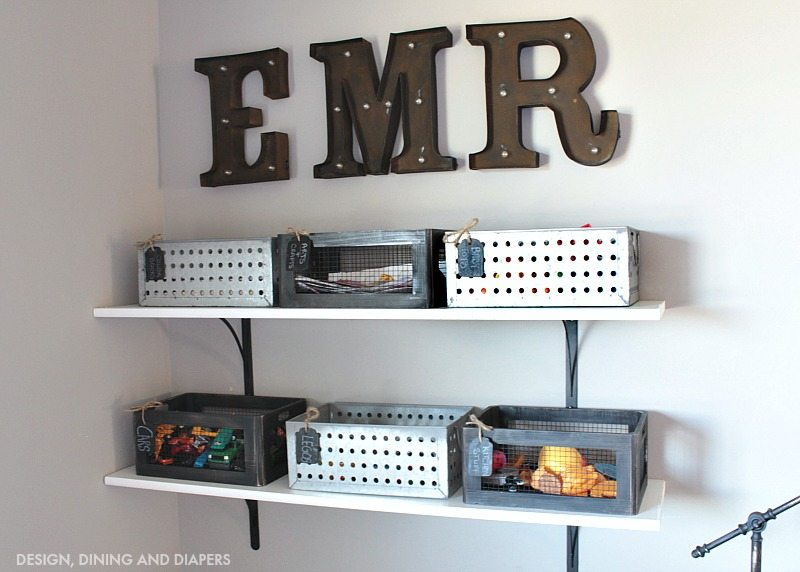 Marquee Letters in Playroom Organization