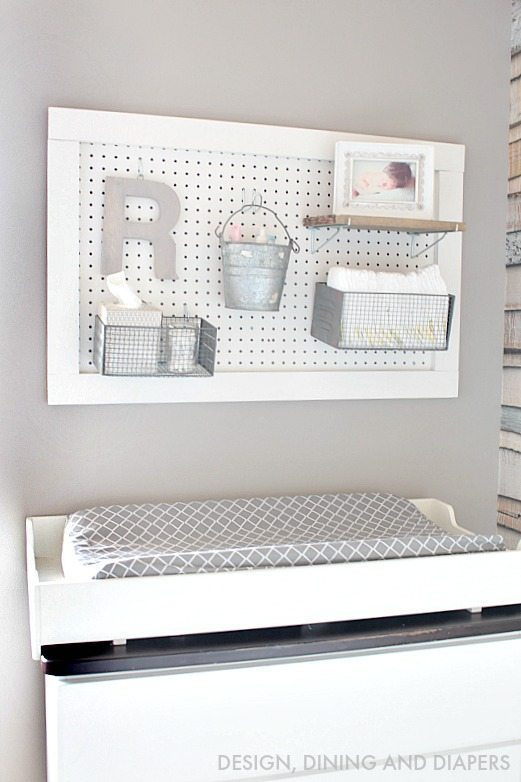 Peg Board Diaper Changing Organization