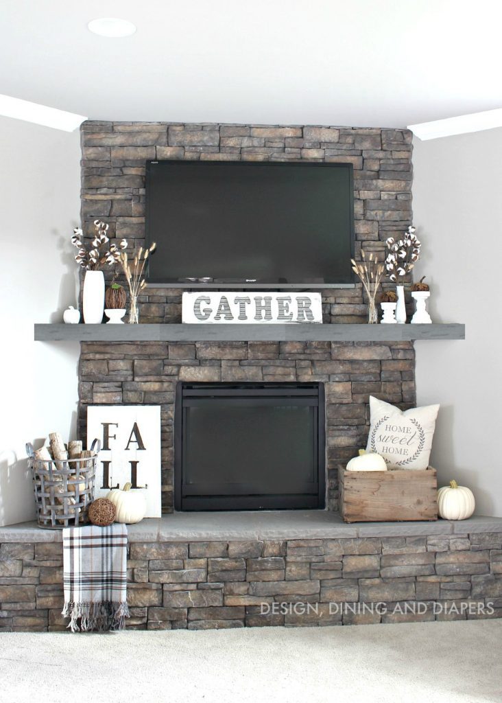 Rustic Fall Mantel Gray Stain