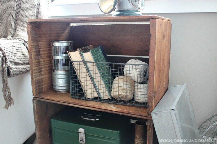 Vintage crate decor