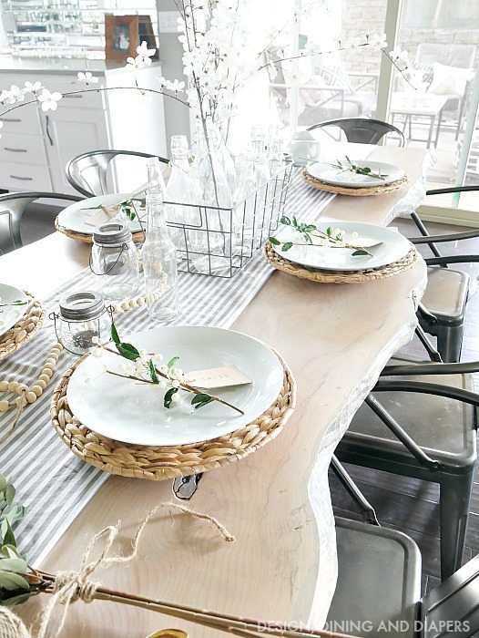 Farmhouse Table Decor on live edge table