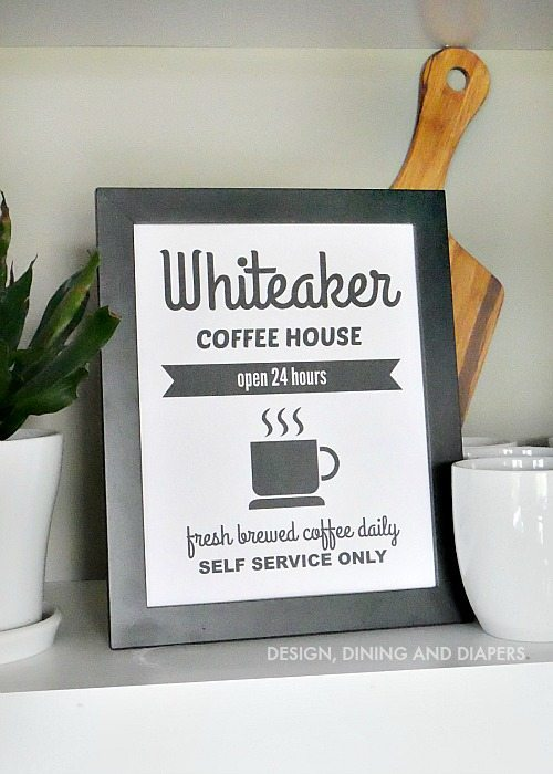 Free Coffee Printable with Personalized Option