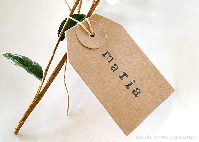 Hand stamped place cards