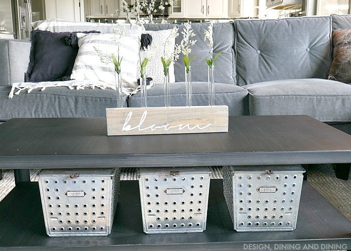 Industrial Farmhouse Style Gray Faily room with DIY Test Tube Vase