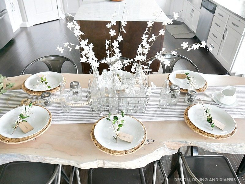 Spring Tablescape on live edge table